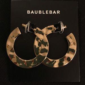 BaubleBar Gold Flat Hoop Earrings. NWT